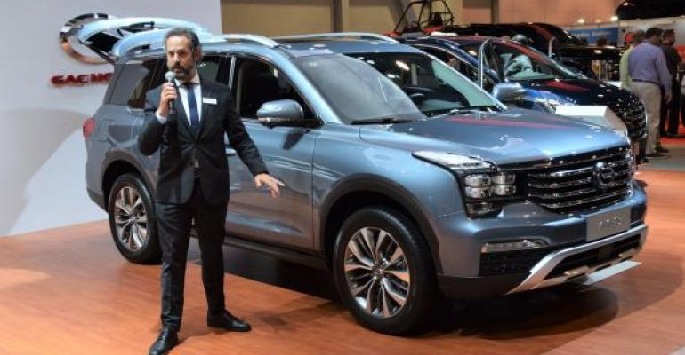 GAC spokesman presents 3row GS8 utility vehicle on NADA floor GAC intends to sell GS8 in US sometime in 2019
