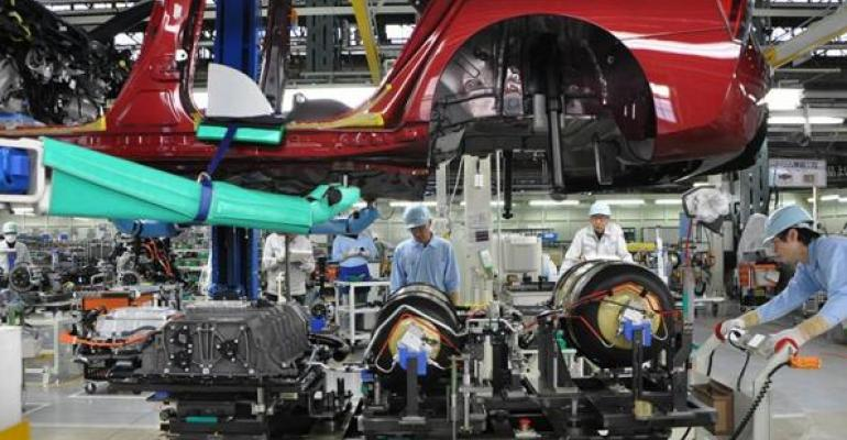 Thirteen Toyota workers turn out 13 Mirai hydrogenfuelcell vehicles daily
