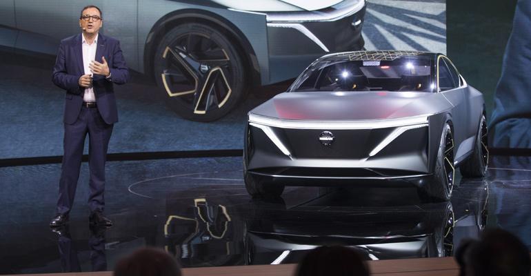Le Vot introduces Nissan IMs EV elevated sports sedan concept car.