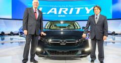 Jeff Conrad left and Steven Center with Honda Clarity in New York