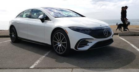 2022 Mercedes EQS by the ocean in Santa Cruz, California