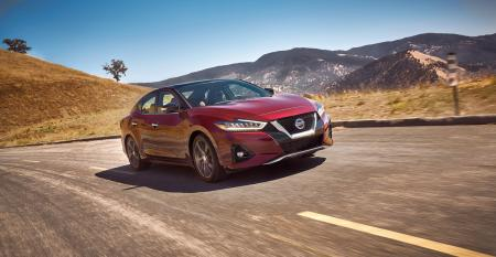 """'19 Nissan Maxima gets even larger """"V-Motion"""" grille, with styling cues that flow into hood and down body."""