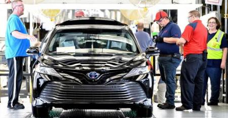 18 Toyota Camry rolls along line in Georgetown KY which has produced more than 8 million of the midsize sedans over three decades