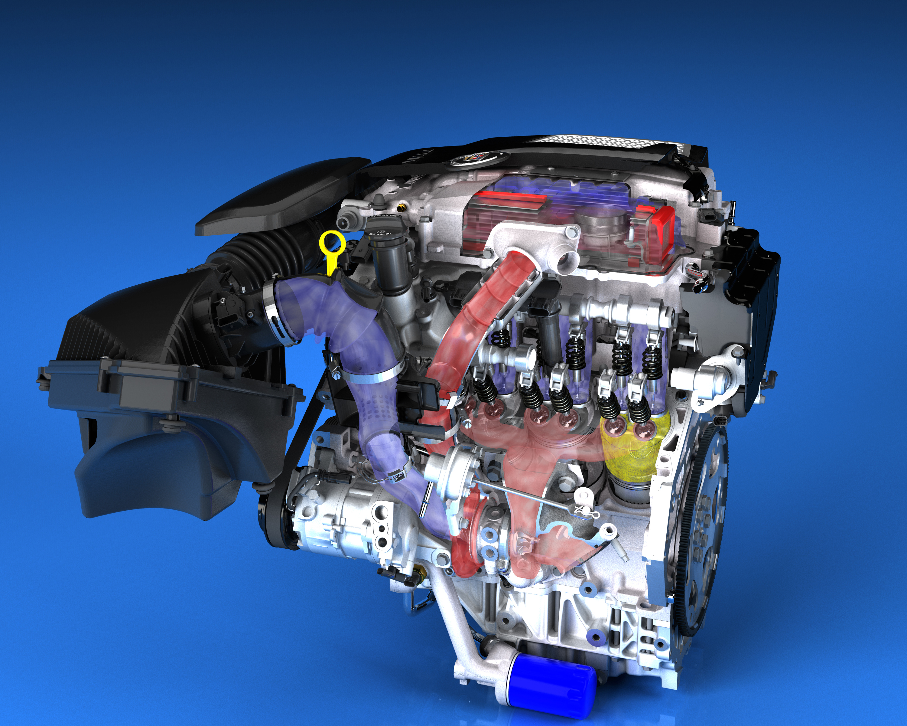 Airflow of '14 Cadillac CTS 3.6L Twin-Turbo LF3 V-6 | WardsAuto