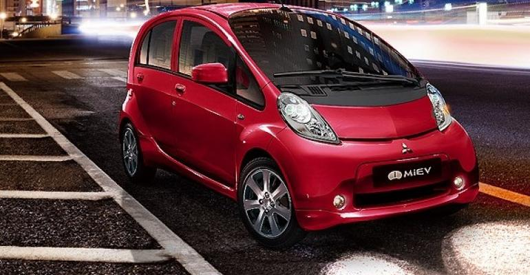 Automaker looks to nearly quadruple i-MIev's current 99-mile range by 2022.
