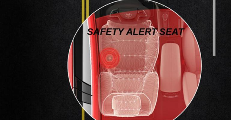 Sensors determine if driver drifts left or right from lane sends pulse to appropriate seat side bolster