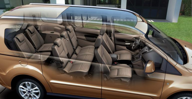 Panoramic roof seating for seven in rsquo14 model Transit Connect Wagon