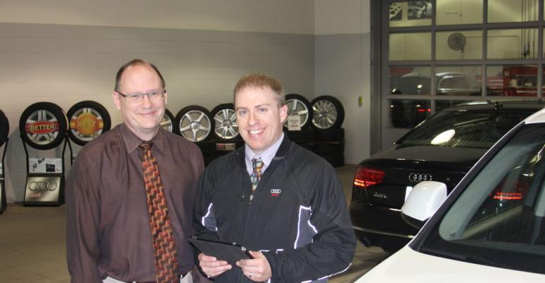 Audi St Paul service manager Ross Corey left service adviser Ryan Thompson