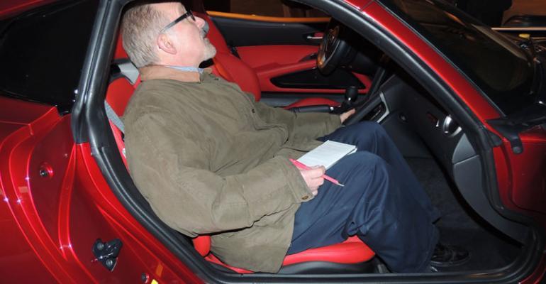 Editor Drew Winter inspects interior of SRT Viper GTS