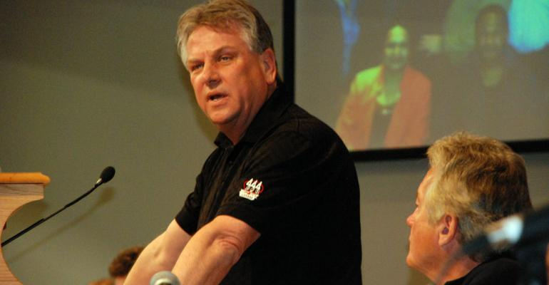 CAW President Ken Lewenza who retires in coming weeks speaks at recent union council meeting
