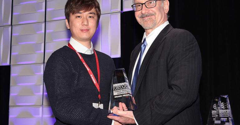 Keunhyuk Choi receives grand award for his beautifully crafted GMC interior concept from Ward39s Auto World Editor Drew Winter