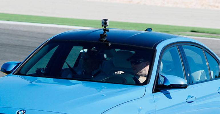 GoPro camera mounted atop new BMW M3 captures laps at Road America