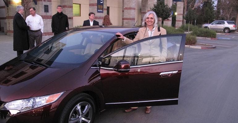 University of California Davis researcher Joan Ogden shown with Honda FCX Clarity bullish on hydrogenfuelcell vehiclesrsquo future