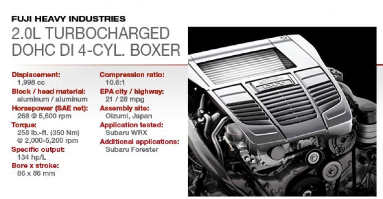 2015 Winner: Subaru 2.0L Turbocharged DOHC H-4