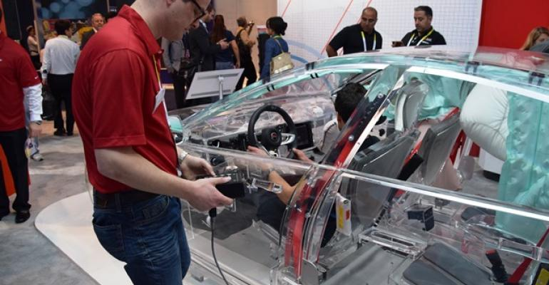 TRW39s acrylic car showing supplier content was popular among CES booth visitors