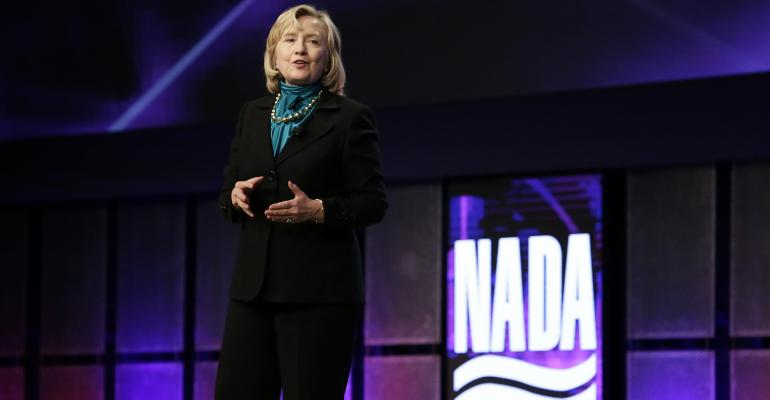 Clinton shown at 2014 NADA convention says trade deals need proworker tweaks