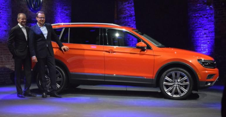 Volkswagen Brand Chairman Herbert Diess left and Hinrich Woebcken CEO of VWrsquos North American Region have high hopes for allnew Tiguan