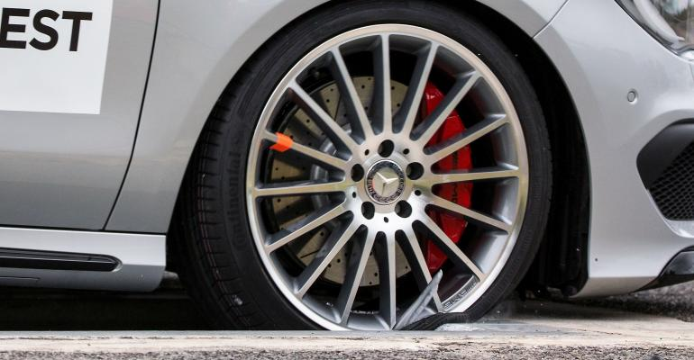 Counterfeit wheel failed at 31 mph in standard pothole test