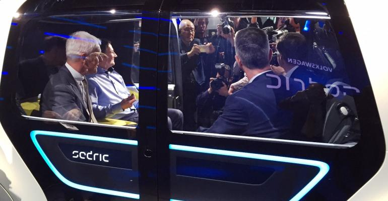 VW executives sitting in new Sedric swarmed by media with few asking about Dieselgate