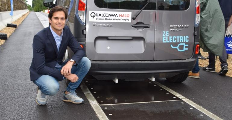 Brazilian racecar driver Nelson Piquet Jr visited test track for dynamic EV charging demonstration He placed seventh in Saturdayrsquos Formula E electricvehicle race in Paris