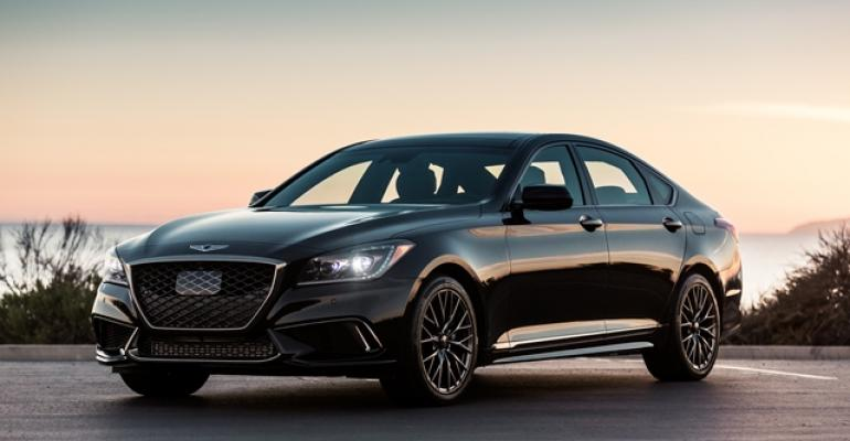 Copper accents on grille headlights identify Genesis G80 Sport