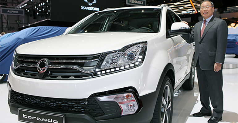 Ssangyong CEO Choi Johngsik with restyled rsquo17 Korando SUV at this yearrsquos Geneva auto show