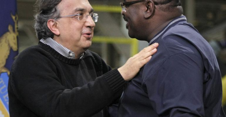 Late UAW executive General Holiefield right with FCA boss Marchionne