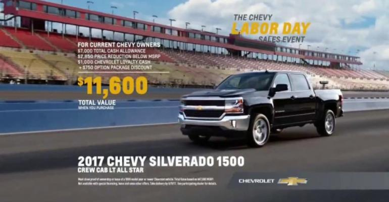 Viewer response to Chevy sales event high