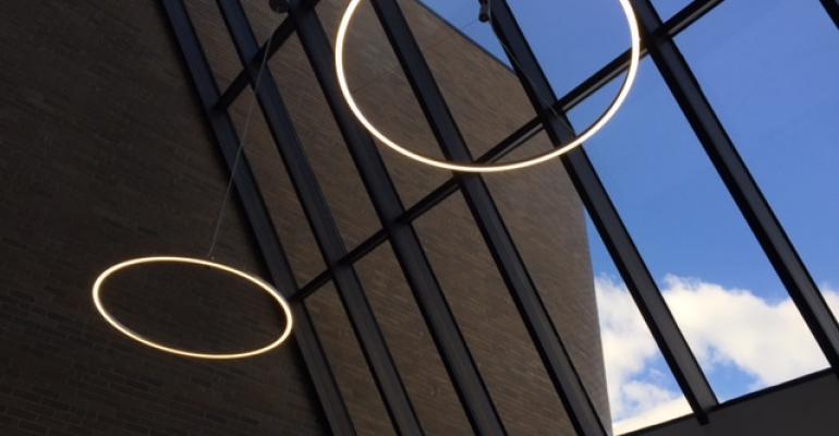 Futuristic lights in building entrance accent modern interior design