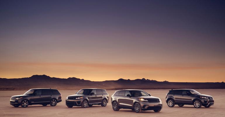 Velar second from right fills key spot in Range Rover showroom