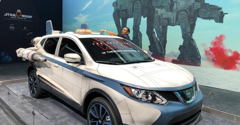 Nissanrsquos display at LA auto show includes battleequipped ldquoStar Warsrdquo Rouge SUV
