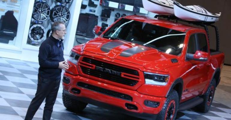 Moparrsquos Gorlier admires customized versions of Ram 1500 at Chicago Auto Show