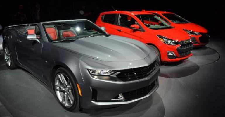 New grille treatment visible on 3919 Chevy Camaro convertible Spark and Cruze