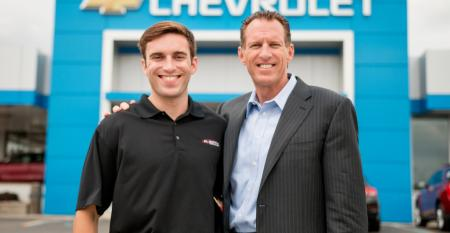 Joe Serra and son Matt at Al Serra Auto Plaza which set record last year